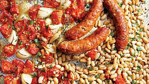 Roasted Italian Sausage, white beans, onions and tomatoes with herbs