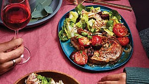 Mediterranean Pork Chops with Green Salad