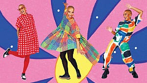 Colourful blue and pink background with three images of the same person dressed in different, uniquely colourful outfits.