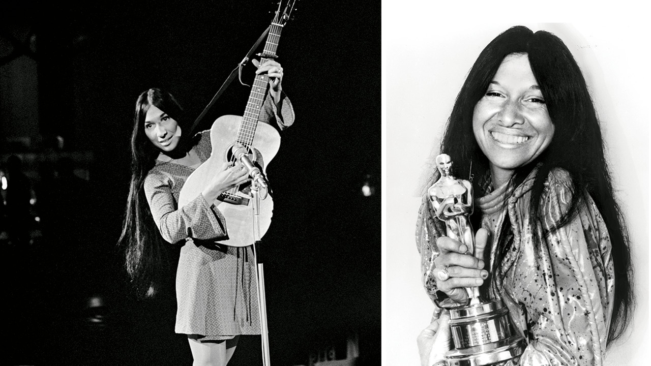 Two black and white portraits of Buffy Sainte-Marie, one of which she's wearing a mini dress and white go-go boots hold a guitar, the other shows her holding an Academy Award