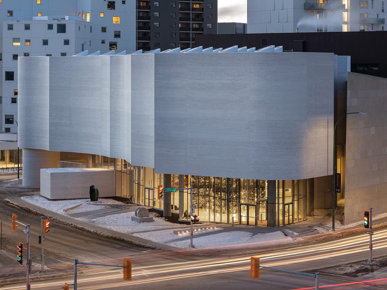 A photo of Qaumajuq, the new Inuit art centre in Winnipeg.