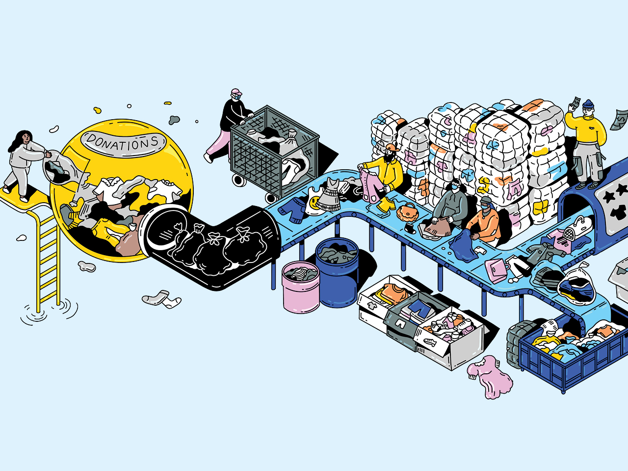An illustration of second-hand clothing on a conveyor belt.