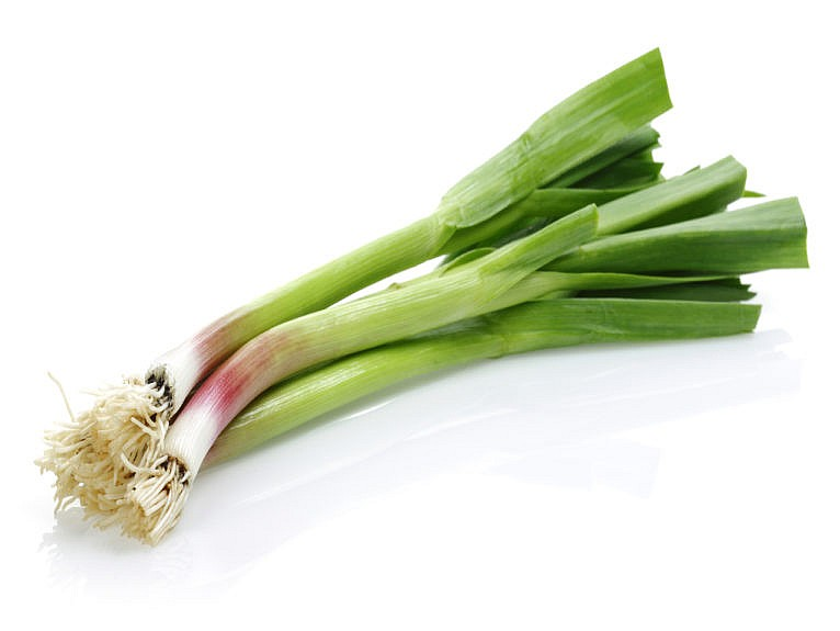 A small bunch of green onions against a white background