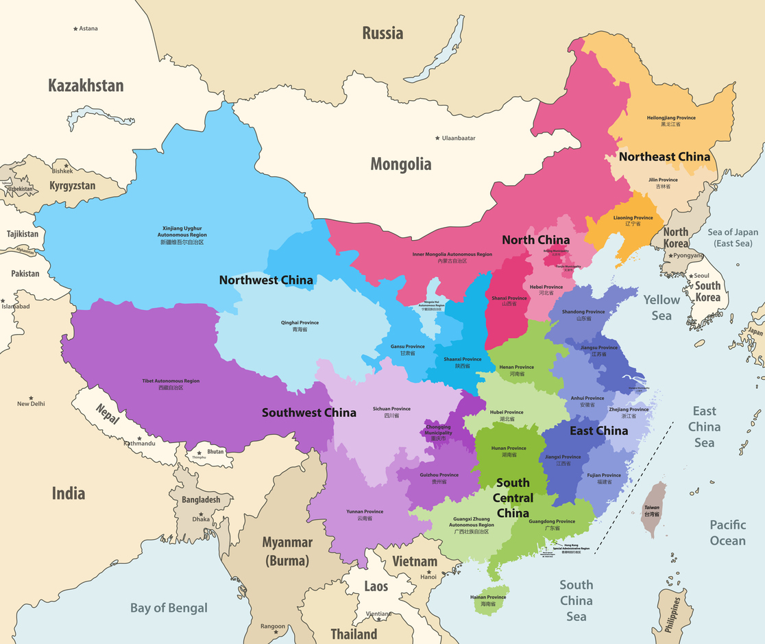 vector map of China provinces (chinese names gives in parentheses) colored by regions with neighbouring countries and territories