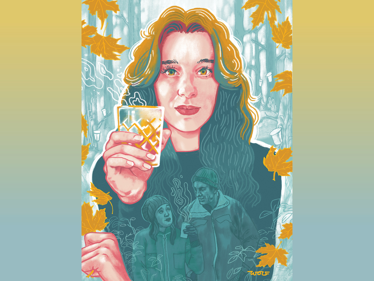 An illustration of writer Caitlin Stall-Paquet, drinking a maple water and gin cocktali