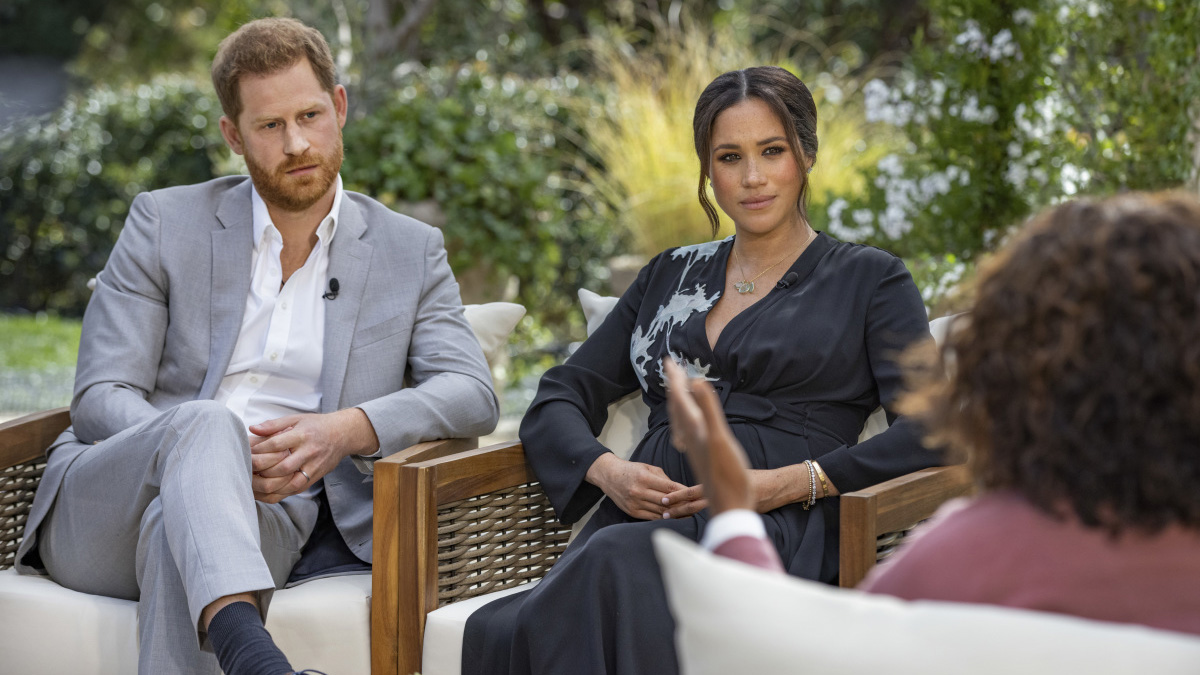 Prince Harry, Meghan Markle, and Oprah in the interview