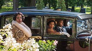 Ma Rainey's Black Bottom, streaming on Netflix, with (left to right), Viola Davis as Ma Rainey, Taylour Paige as Dussie Mae, and Dusan Brown as Sylvester. (Photo: David Lee / Netflix)