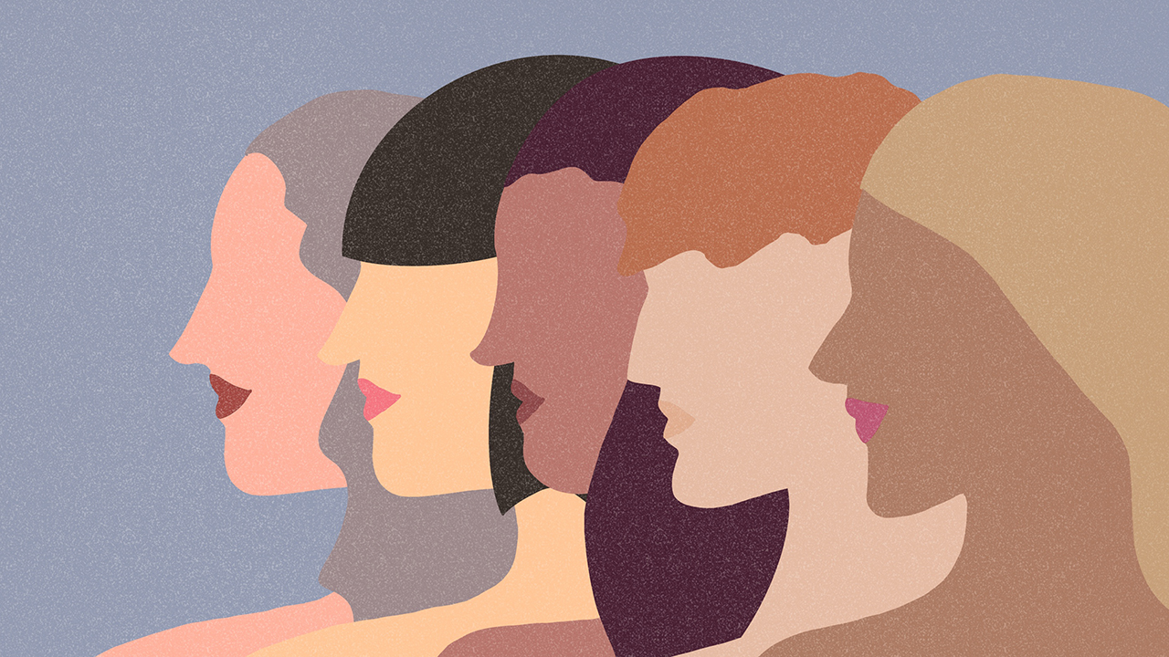 An illustration of five women standing side by side in profile