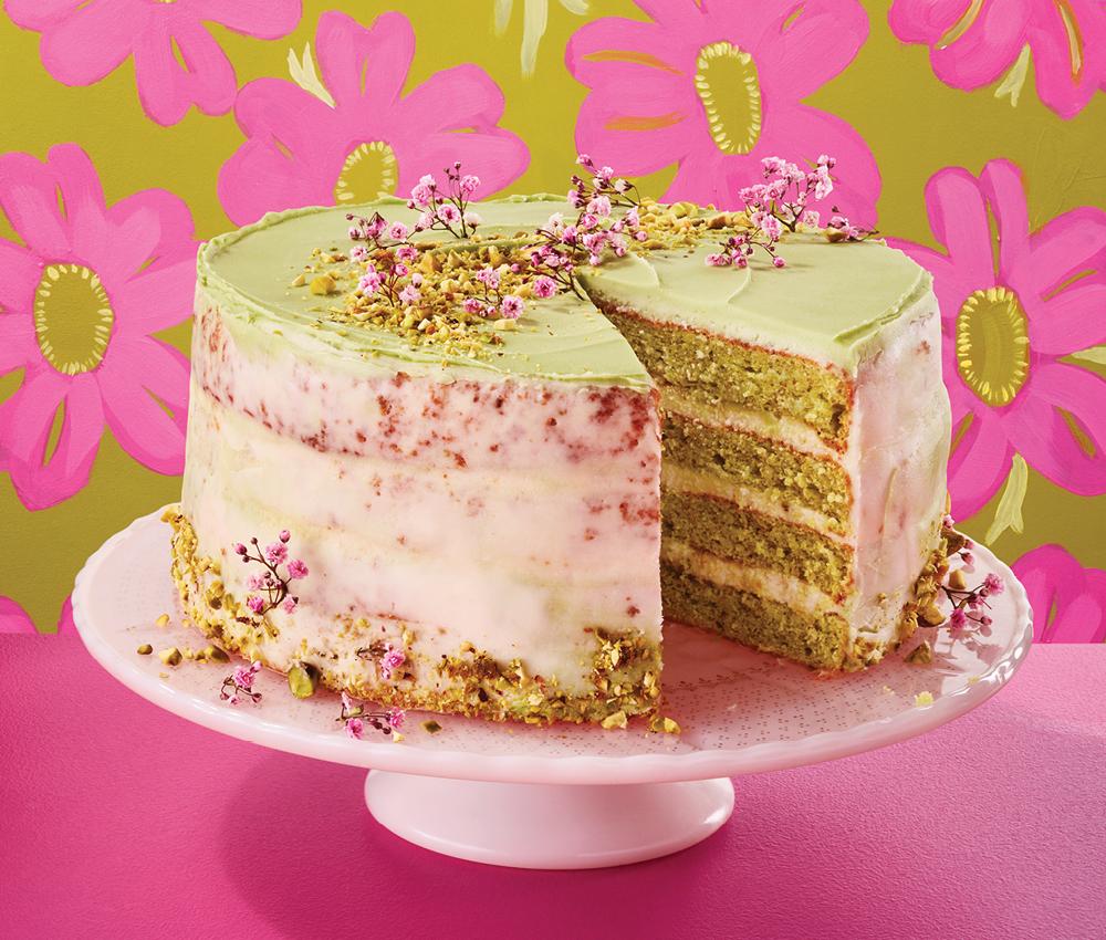 Pistachio Cake With Orange Blossom Icing