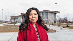 Ng, Minister of Small Business, Export Promotion and International Trade, in front of the Aaniin Community Centre in Markham, Ont. (Photograph by Lucy Lu)
