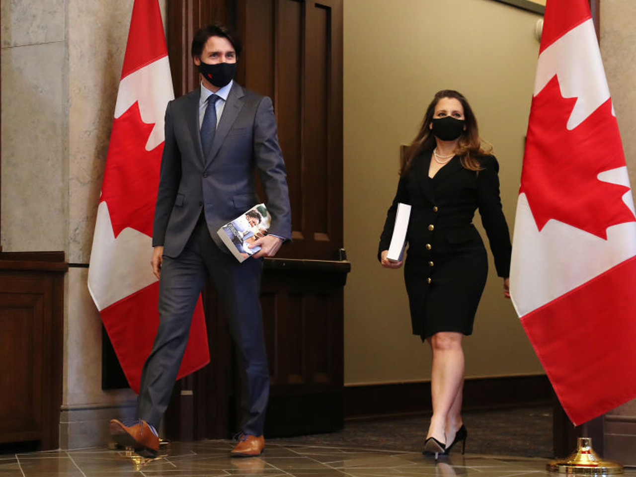 Justin Trudeau and Chystia Freeland arrive for tabling of 2021 budget