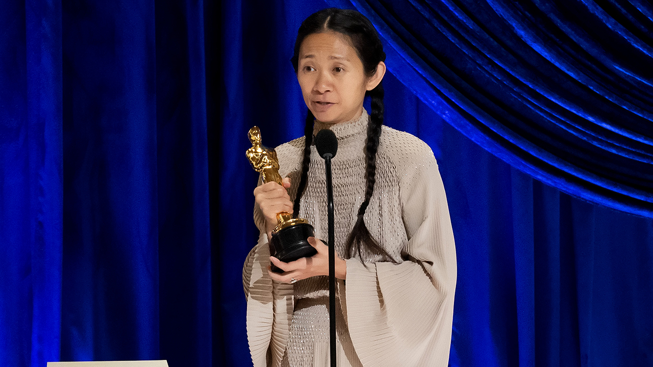 Chloé Zhao accepts the directing award for Nomadland onstage during the 93rd Annual Academy Awards at L.A.'s Union Station on April 25, 2021. (Photo: Todd Wawrychuk/A.M.P.A.S. via Getty Images)