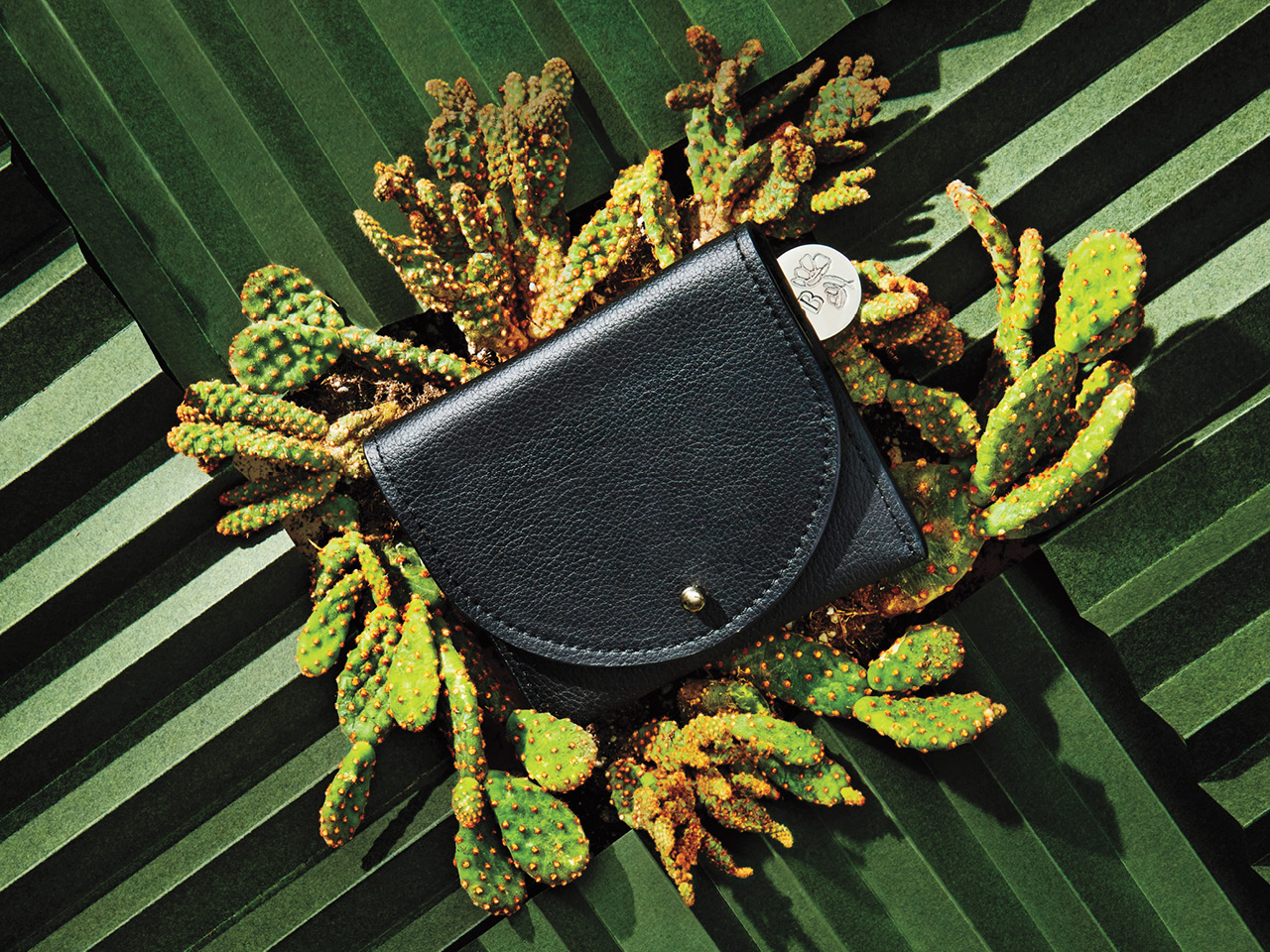 A black cactus leather wallet against a green background made from paper, with a prickly pear cactus.