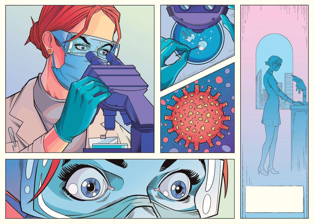 A comic style illustration of a coronavirus researcher