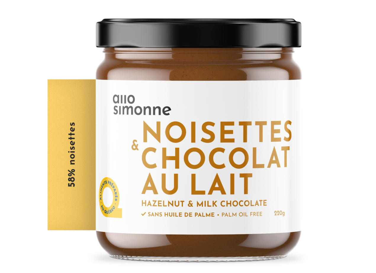A photo of Allo Simone chocolate hazelnut spread.