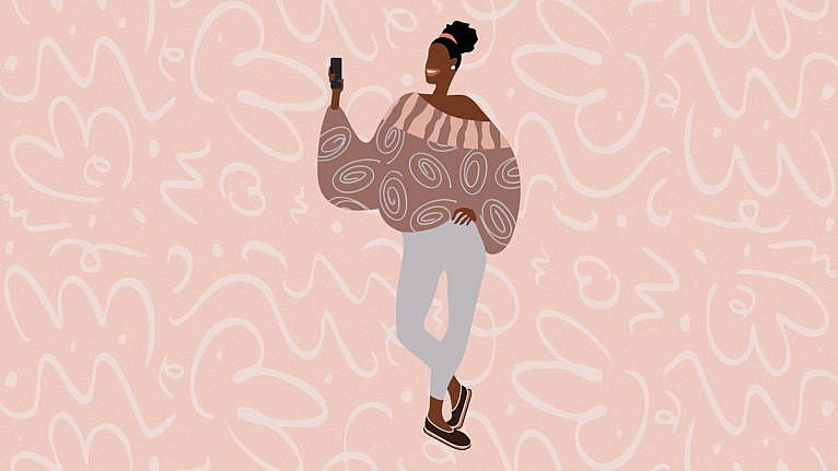 An illustration of a woman wearing a slouchy sweater and holding a phone.