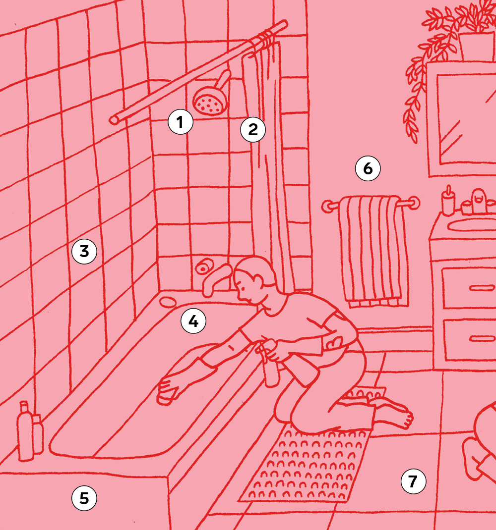 An illustration of a bathroom for a round-up of bathroom cleaning tips.
