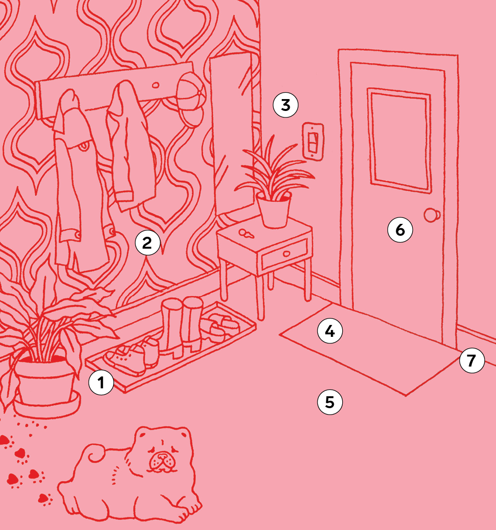 An illustration of an entryway for a round-up of entryway cleaning tips.
