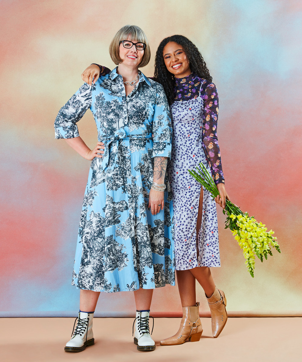 Two women wearing florals for an article on spring 2021 fashion trends.