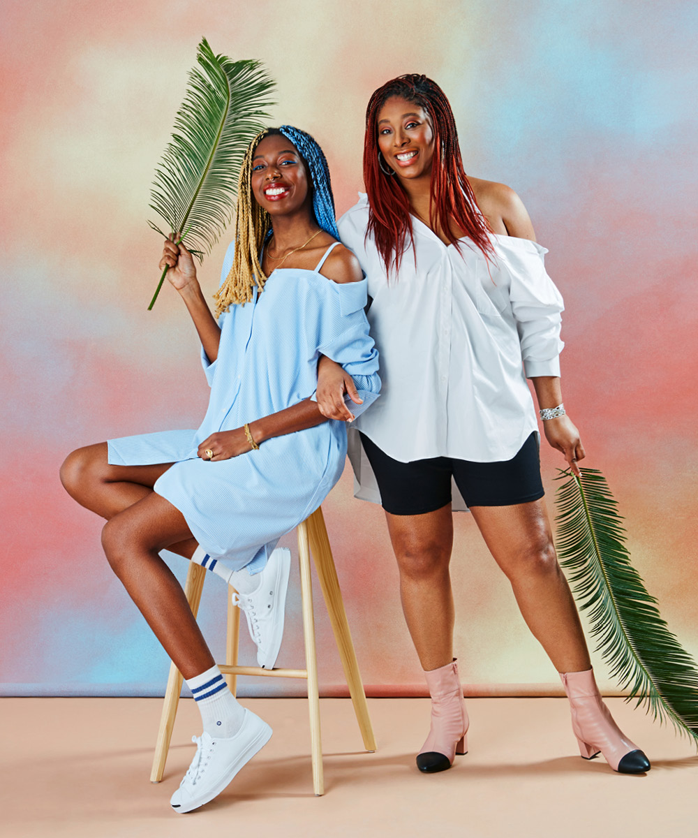 Two women wearing oversized button-downs for an article on spring 2021 fashion trends.