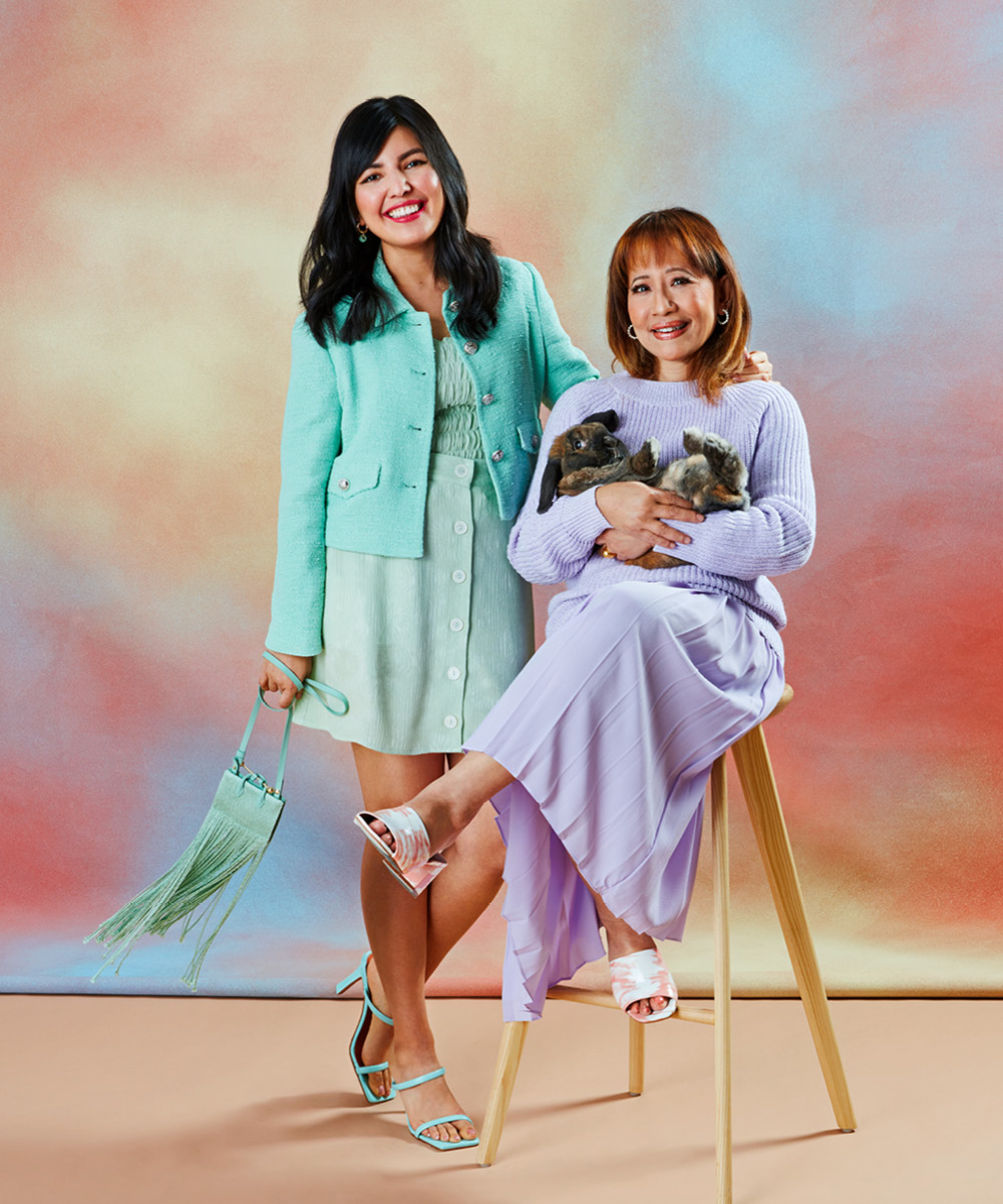 Two women wearing pastels for an article on spring 2021 fashion trends.