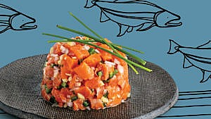 A photo of a round portion of Arctic char ceviche on a dark grey plate