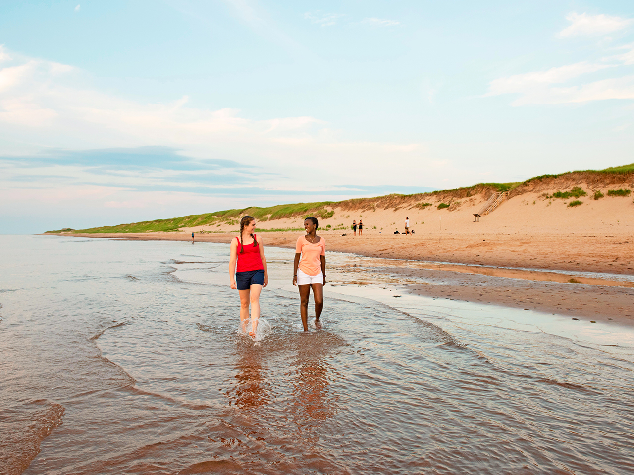 A pair of women tredge through low tides on the beach