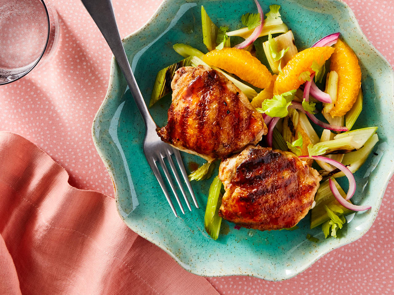 Crispy Chicken Thighs With Grilled Celery And Orange Salad