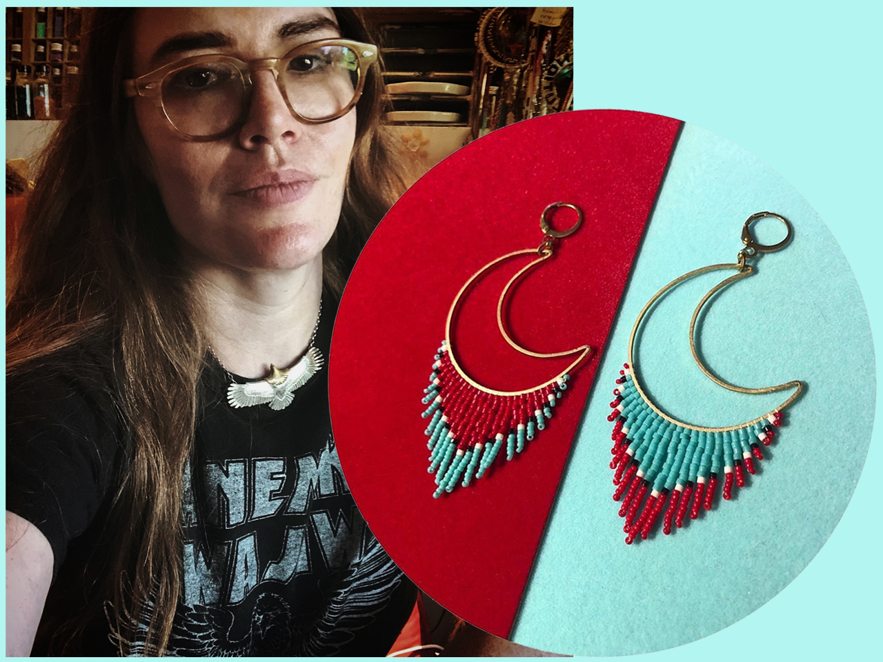 A photo of Krysta Furioso, and a pair of her shooting moon earrings.