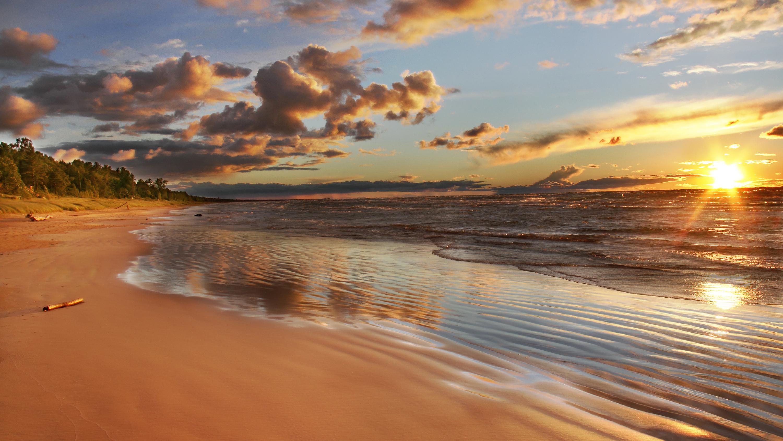 A Lake Huron beach near Grand Bend, Ontario at sunset