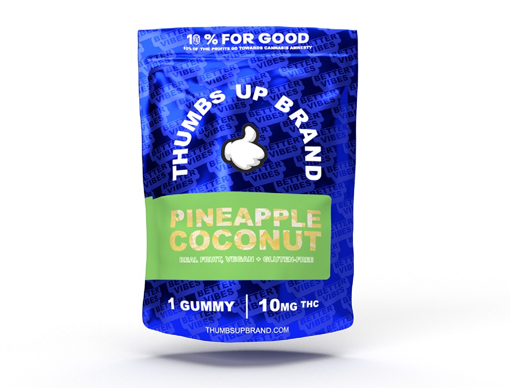A package of Thumbs Up THC Pineapple Coconut Soft Chew