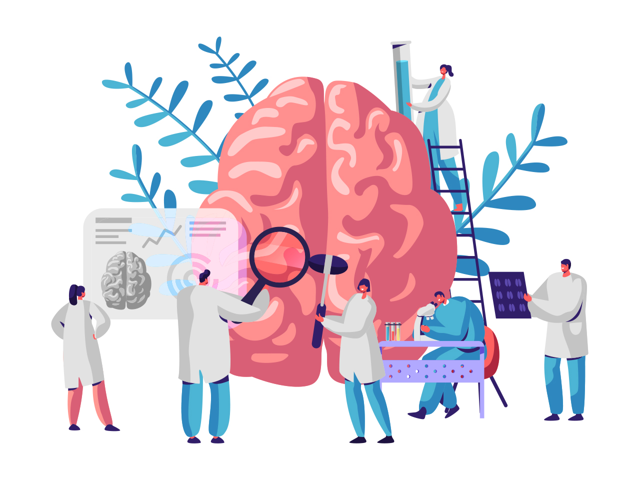 An illustration of a brain surrounded by white-coated scientists studying it