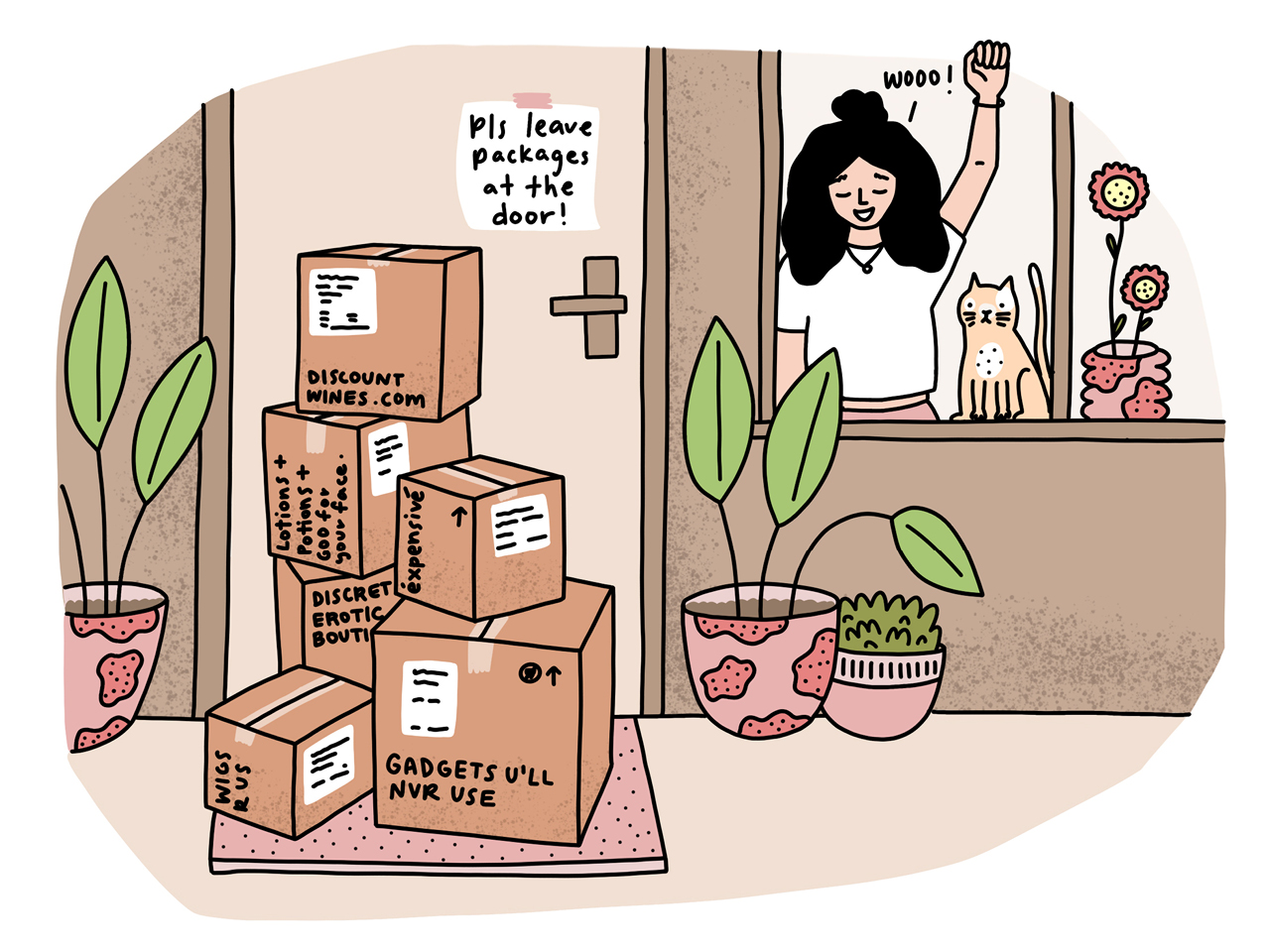 An illustration of a woman looking out of her window at a pile of online shopping with funny store names.