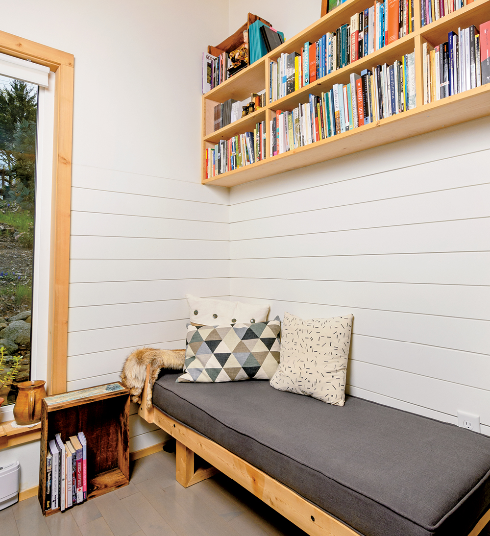 Writer Michelle Elrick's reading banquette in her Nova Scotia backyard shed office.