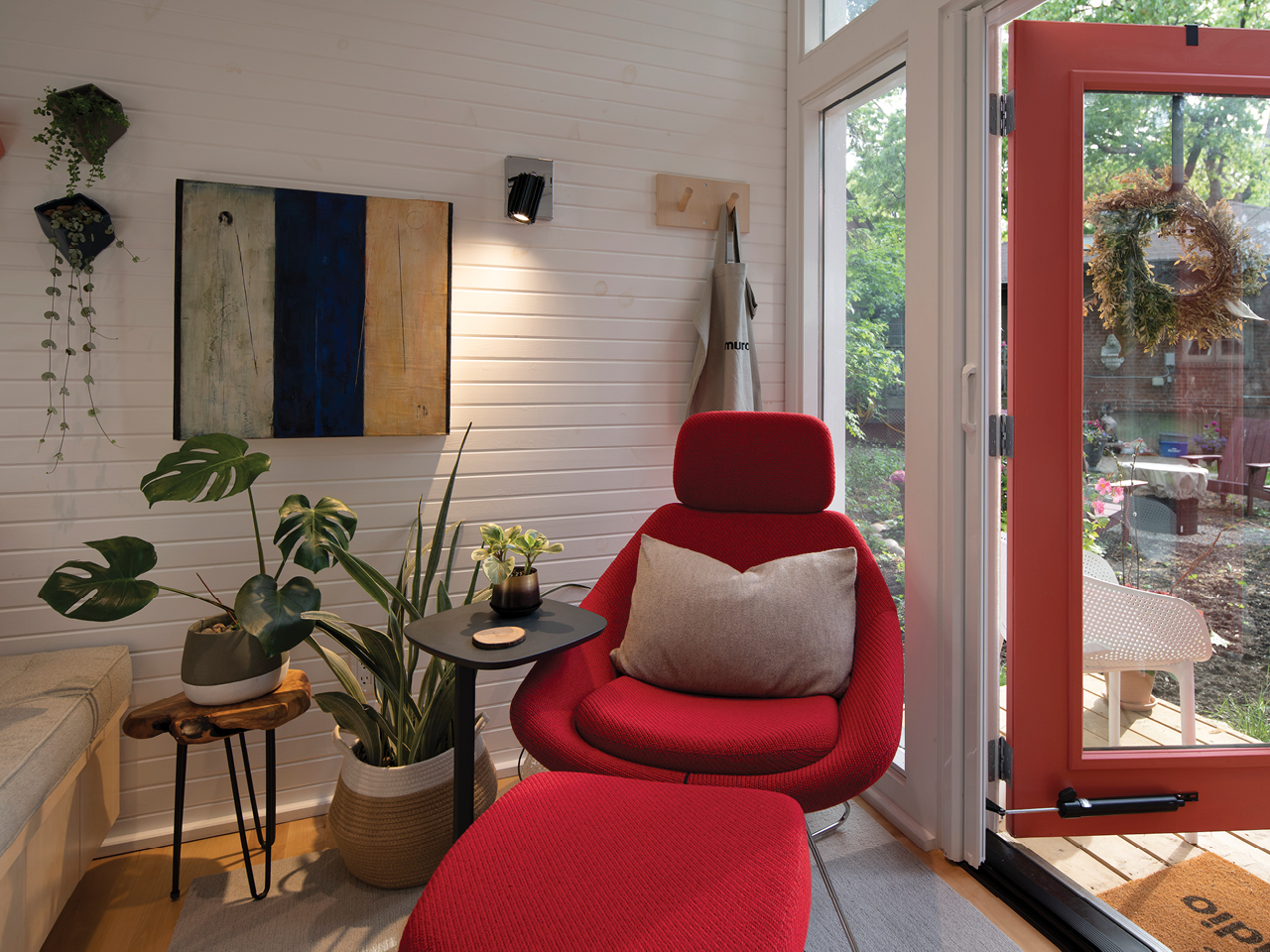 Susan Chang's reading corner in her Toronto backyard shed office.