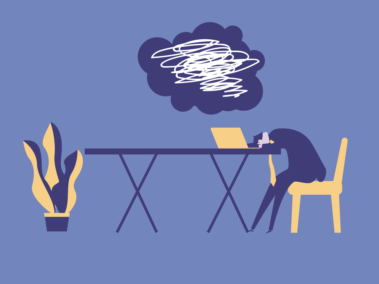 Illustration of person sitting at a desk infront of a laptop with their head down and a cloud above their head