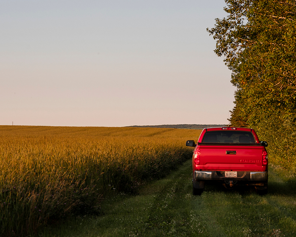 A red truck parked next to a farming field