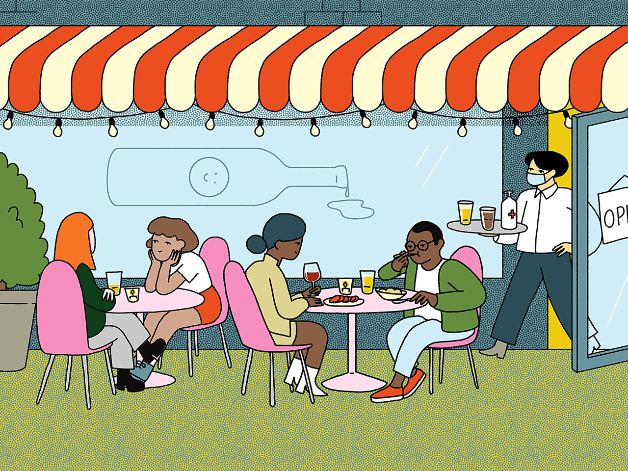 A graphic design image of a group of people sitting at patio tables, socializing. A waiter exits a restaurant door behind them, holding a tray of drinks