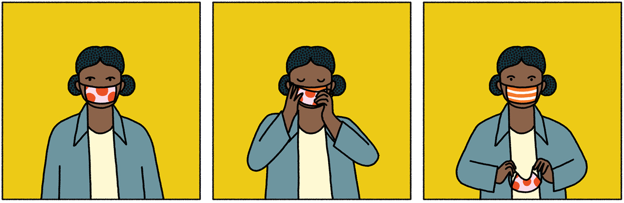 A three-slide comic. In the first slide, the woman stands against a yellow background wearing a mask. In the second slide, she reaches to remove the mask. In the third slide, the woman stands straight again with a new mask over her face, indicating she had a second one on under the first.