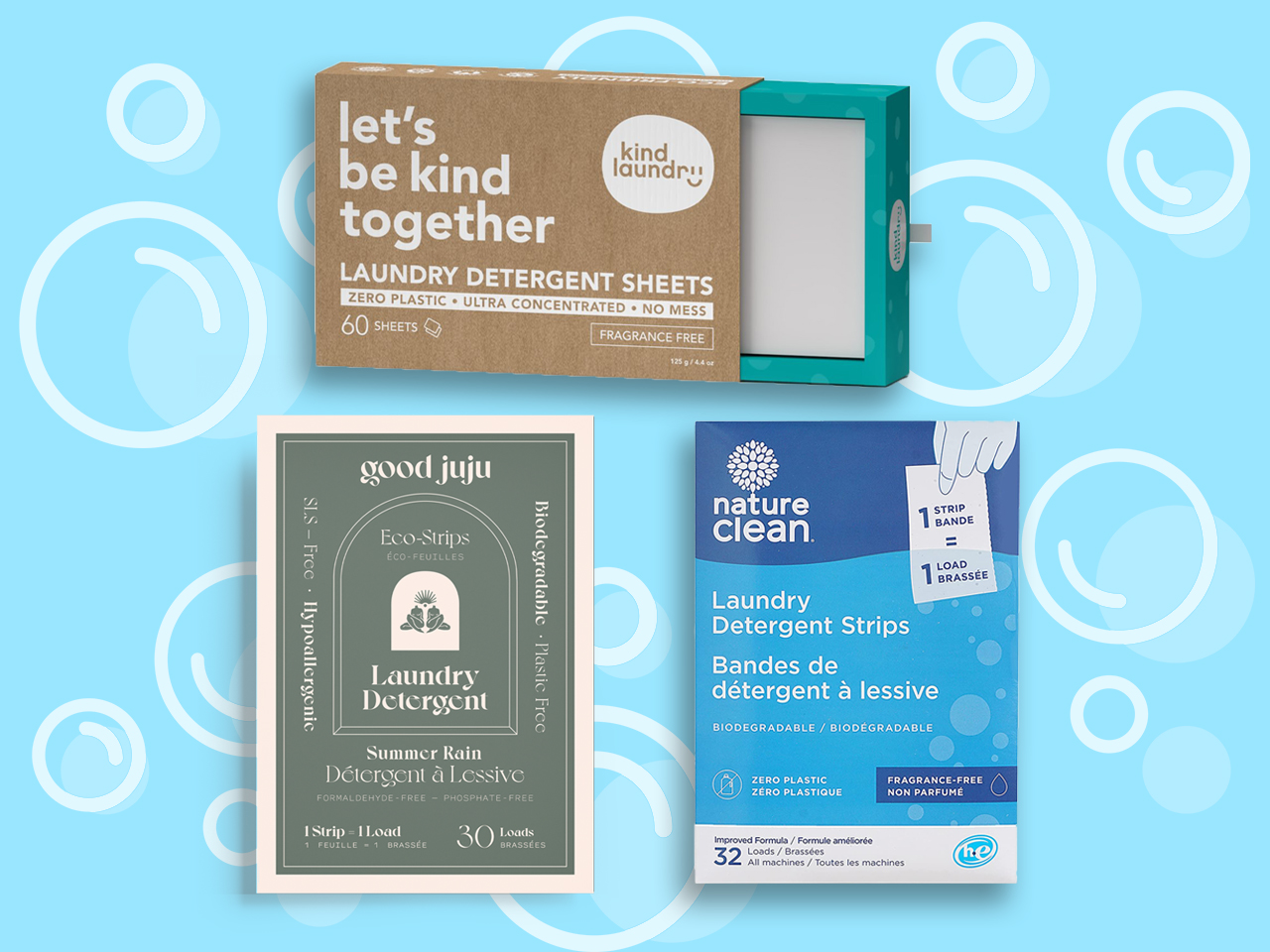 good juju, kind laundry and nature clean laundry strips